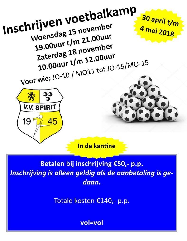 In 2018 weer een voetbalkamp voor de jeugd JO/MO10 t/m JO/MO15