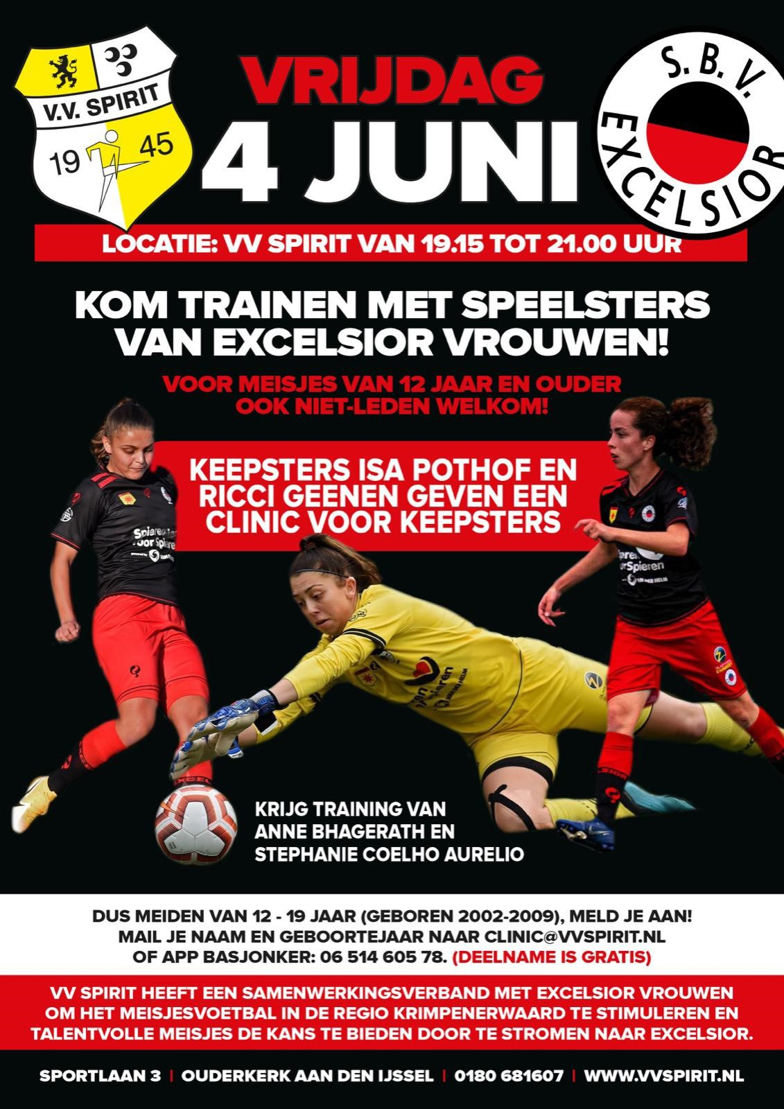 Krijg training van Excelsior speelsters op 4 juni