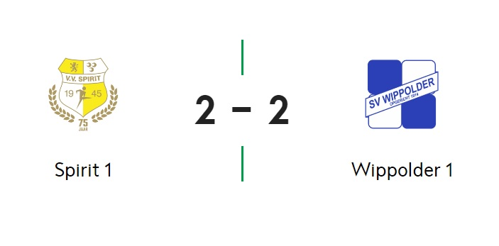Gehavend Spirit speelt met 2-2 gelijk in vermakelijk duel met Wippolder